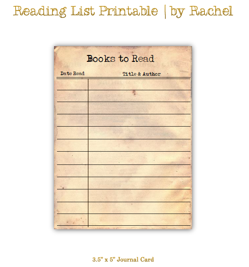 Reading List Printable